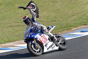 2009 Japanese motorcycle Grand Prix - Jorge Lorenzo celebrating his victory.