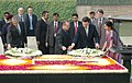 Jose Manuel Barroso and the Prime Minister of the Republic of Portugal, Mr. Jose Socrates are laying wreath at the Samadhi of Mahatma Gandhi at Rajghat, in Delhi on November 30, 2007.jpg