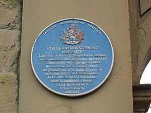 Rayner Stephens - Image: Joseph Rayner Stephens blue plaque, Stalybridge Town Hall