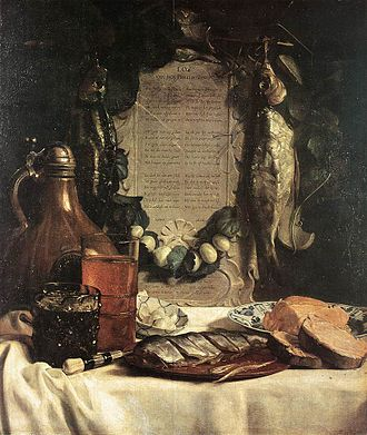 Joseph de Bray - Ode to the Herring, still life with herring and poem by Jacob Westerbaen, 1656