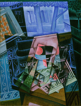 Juan Gris - Juan Gris, 1915, Still Life before an Open Window, Place Ravignan, oil on canvas, 115.9 x 88.9 cm, Philadelphia Museum of Art