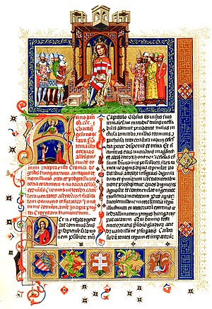 Hungarian conquest of the Carpathian Basin - First page of the Illuminated Chronicle