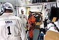 KSC-96EC-1295 NASA Mission Specialist Thomas Jones in White Room prior to launch of Space Shuttle mission STS-80.jpg