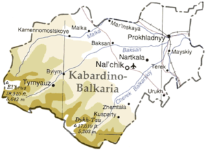 Detailed map of Kabardino-Balkaria.