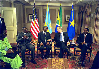 Joseph Kabila - Kabila in 2002, with Thabo Mbeki, George W. Bush, and Paul Kagame.