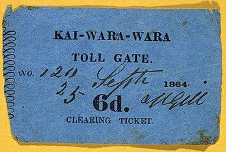 Kaiwharawhara - Image: Kai Wara Wara toll gate. Clearing ticket. 6d. 25 Sept(ember) 1864. (21666035225)