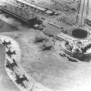 Jinnah International Airport - Karachi Port Trust Airport in 1943 during World War II with two Liberators and four Dakotas