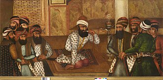 Hookah - Karim Khan of Persia seated in his royal court in Shiraz, using a Qaelyan (1755)