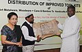Kavuru Sambasiva Rao distributed improved tool kits of art metalware, woodware to handicrafts artisanscraft persons, at a function, in New Delhi. The Secretary, Ministry of Textile, Smt. Zohra Chatterji is also seen.jpg