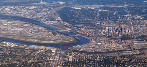 Kaw Point - Kaw Point (red arrow) from the west