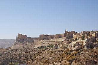 The Karak Castle (c. 12th century AD) built by the Crusaders, and later expanded under the Muslim Ayyubids and Mamluks Kerak BW 1 (cropped).JPG