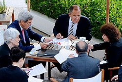 Kerry and Lavrov, with senior advisers, negotiate chemical weapons agreement on September 14, 2013