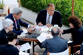 Destruction of Syria's chemical weapons - Sergei Lavrov and John Kerry at the final negotiating session on September 14