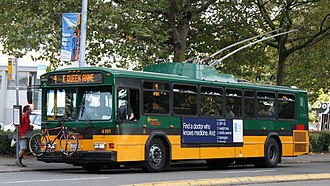 Trolleybuses in Seattle - A Gillig Phantom trolleybus on route 4 in downtown, August 2005