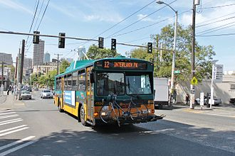 Madison Street (Seattle) - A trolleybus eastbound on Madison Street in 2015