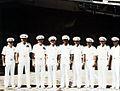 Kirk Douglas in front of USS Nimitz (CVN-68) 1979.jpg