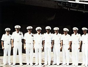 The Final Countdown (film) - Kirk Douglas as Capt. Matthew Yelland (4th from left).