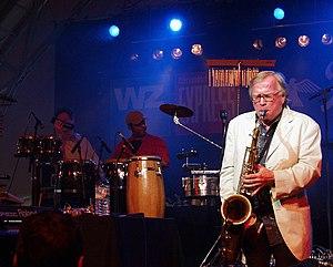 Jazz composer and saxophonist Klaus Doldinger during concert