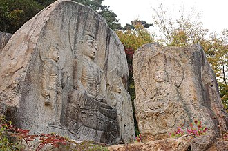 Gyeongju - Chilbulam (rock-engraving of seven Buddhas) on Namsan, Gyoengju.