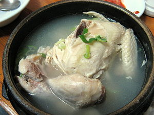 Korean fried chicken - Traditionally, Koreans steamed chicken, or used them in soups and broths, such as this Samgyetang.