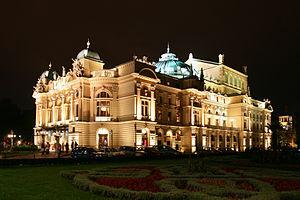 Juliusz Słowacki Theatre - Słowacki Theatre in Kraków Old Town at night