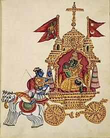 An 1830 CE painting depicting Arjuna, on the chariot, paying obeisance to Krisha, the charioteer.