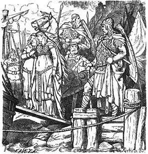 "Kudrun - ""Kudrun is led away imprisoned"" (1885) by Johannes Gehrts."