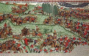 Из собрания Государственного Исторического музея Лист выполненный в Городце Изображение Куликовской битвы.