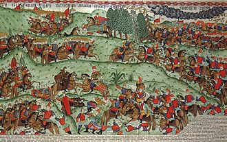 "Lubok - ""The Battle of Kulikovo"". A large-scale hand-coloured lubok by I.G. Blinov (ink, tempera, gold)."