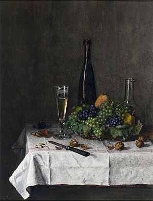 Léon Bonvin - Image: Léon Bonvin Still Life Basket of Grapes, Walnuts, and Knife Walters 371529 (2)