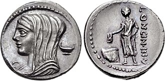"Cassia (gens) - Denarius of Lucius Cassius Longinus, 63 BC.  The obverse depicts Vesta.  On the reverse, a voter is casting a ballot inscribed V, for uti rogas (""as you propose"").  Vesta and the voter are allusions to the election of Longinus Ravilla as prosecutor in the Vestals' scandal of 113."