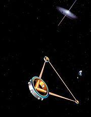 Artist's impression of the space-borne gravitational wave detector LISA