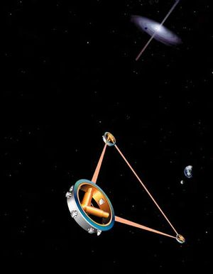 General relativity - Artist's impression of the space-borne gravitational wave detector LISA