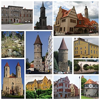 Lwówek Śląski - The town hall, The Church of the Assumption of the Blessed Virgin Mary, the municipal office, The Lubań Tower, The Płakowice Palace, the tenements in the town centre