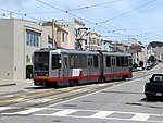L Taraval train crosing over at 35th Avenue, May 2018.JPG