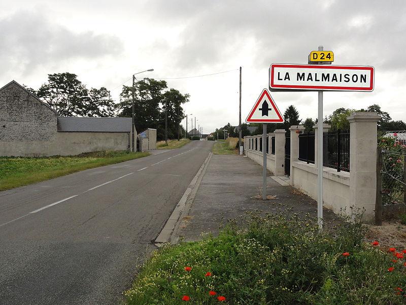 La Malmaison (Aisne) city limit sign