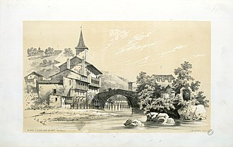 Nive - Nive in Saint-Jean-Pied-de-Port in 1843, by Eugène de Malbos