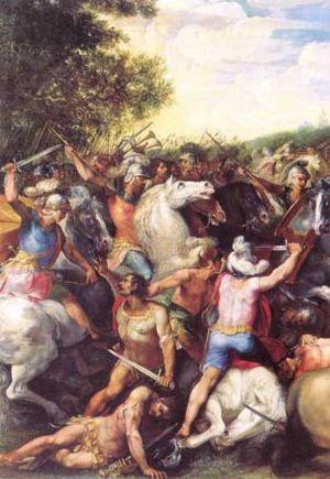 Tullus Hostilius - Tullus Hostilius defeating the army of Veii and Fidenae, modern fresco.