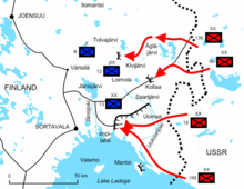 Diagram of the battles in Ladoga Karelia illustrates the positions and offensives of the four Soviet divisions, facing two Finnish divisions and one brigade. The Red Army invaded around 25 kilometres deep into Finland, but was stopped at the points of Tolvajärvi and Kollaa, and almost surrounded near the water of Lake Ladoga.