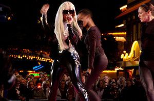 Lady Gaga performing at Gröna Lund, Stockholm,...