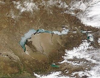 Lake Balkhash - Ice over Lake Balkhash on April 11, 2003.