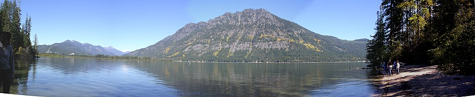 View across Lake Wenatchee to Dirty Face mountain in early spring of 2004