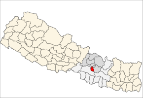 Lalitpur District i Bagmati Zone (grå) i Central Development Region (grå + lysegrå)