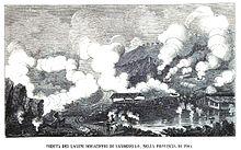 1868: Panorama dell'area di Larderello, con i soffioni boraciferi