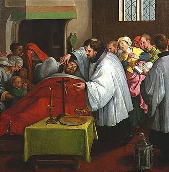 Last rites - Administering the last rites (Dutch School, c. 1600)
