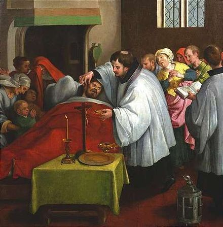 Administering the last rites (Dutch School, c. 1600) Last Rites ca 1600.jpg