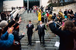 Leaving Seattle City Hall on first day of gay marriage in Washington 2.jpg