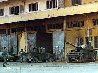 Lebanese Armed Forces - A Lebanese Army personnel in Beirut in 1982.