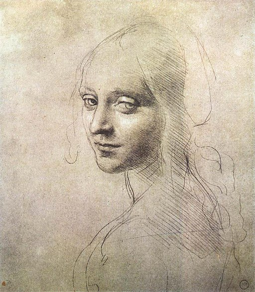 Leonardo da vinci, Head of a girl 01