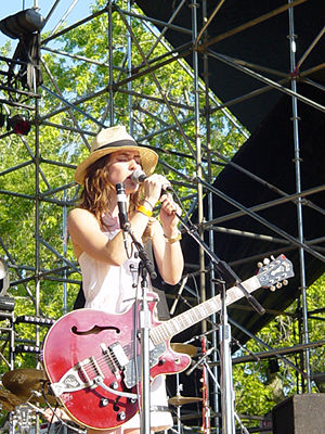 Leslie Feist performing at the Olympic Island ...